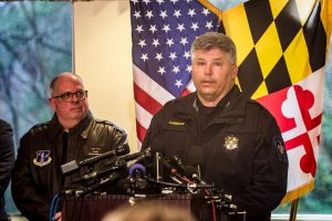Gov. Larry Hogan looks on as Saint Mary's County Sheriff Timothy Cameron speaks about the Great Mills High School Shooting at a press conference March 20, 2018. (credit Michael Jordan)
