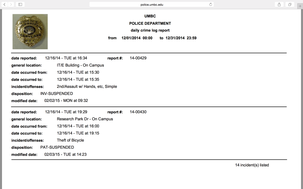 Screen Shot documenting omission of the alleged gang rape. Incident was reported Dec. 18. Log stops Dec. 16