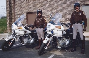 Sgt. George Diehl and Doug Poppa on Motor Patrol.