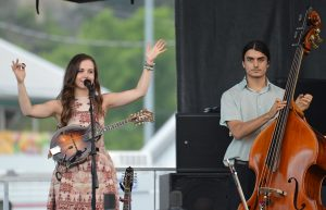 Mandolin virtuoso Sierra Hull, the show's official artist-at-large, has been popping up all over DelFest, joining bands for guest drop-ins. Here she is for her own full set on the Potomic stage, with bassist Ethan Jodziewicz.