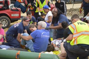 On Sunday June 10, 2018, Sinai Hospital in Baltimore, Maryland, in cooperation with Pimlico Race Course and local police and fire departments, offered first responders the opportunity to enter the scene of a mock mass-casualty event. (Credit Anthony C. Hayes/Baltimore Post-Examiner)
