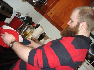 My husband and sous chef, just after putting out the cognac's flame - not even high enough to threaten his beard.