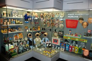 Three Stooges memorabilia in the first floor gallery of the Stoogeum.