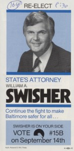 William Swisher was upset in a landslide by Kurt L. Schmoke in the 1982 election for Baltimore City State's Attorney.