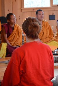 Tibetan Monks of the Drepung Gomang Monastery offered healing chants at HopeWell Cancer Support in Lutherville, Maryland (Anthony C. Hayes)