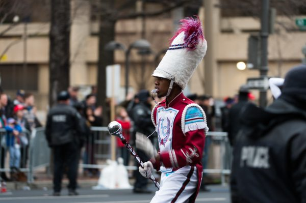 Inauguration Day: A member of the Talladega College Marching Band in the Inaugural Parade. As a historically black college, Talladega College faced harsh criticism for attending this event. (Michael Jordan)
