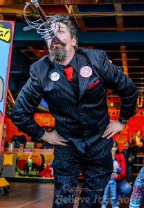 Tyler Fyre at Ripley's Believe it of Not! for World Sword Swallower's Day
