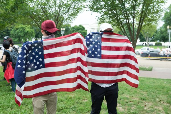 """Washington, DC. Aug. 12, 2018: Protesters from """"Unite the Right 2"""", rally on Lafayette Square just steps from the White House. There were less than two dozens """"Unite the Right 2"""" protesters (Mike Jordan/BPE)"""