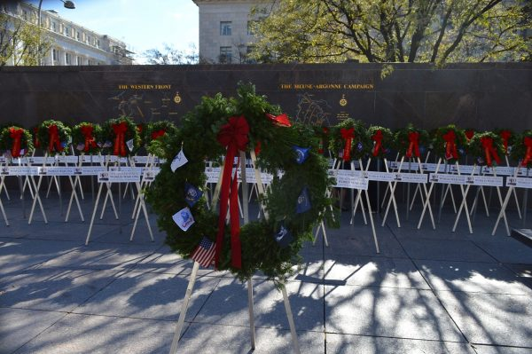 Wreaths in Pershing Park dedicated to the United States and its territories are part of the commemoration honoring WWI Veterans and the centennial of Armistice Day. (Anthony C. Hayes)