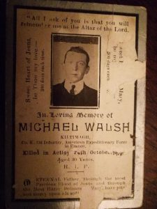 WWI hero Michael Walsh.Purple Hearts Reunited will conduct their first international ceremony in honor of WWI hero Private Michael Walsh on Nov. 16, 2018.