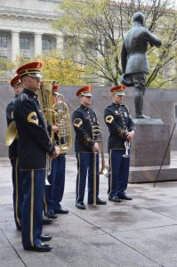 "U.S. Army Band's ""Pershing's Own"" Brass Quintet on hand for the groundbreaking ceremony for the new World War I Memorial. (Anthony C. Hayes)"