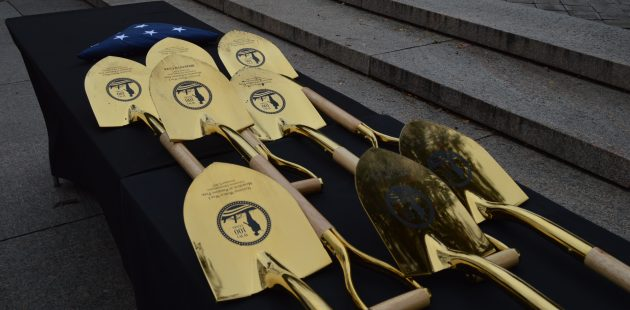 Shovels used for the groundbreaking ceremony for the new World War I Memorial in Washington, D.C. (Anthony C. Hayes)