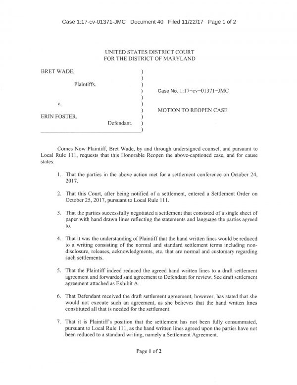 Wade / Foster motion to reopen case doc pg 1