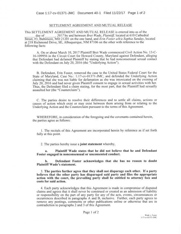 Disputed Wade / Foster Settlement Agreement doc Page 1