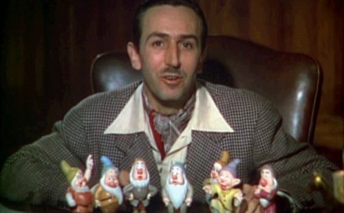 Walt Disney in a trailer for Snow White. Walt Diney is the centarl character in the play The Death of Walt Disney at Single Carrot Theatre. (Wikimedia Commons)