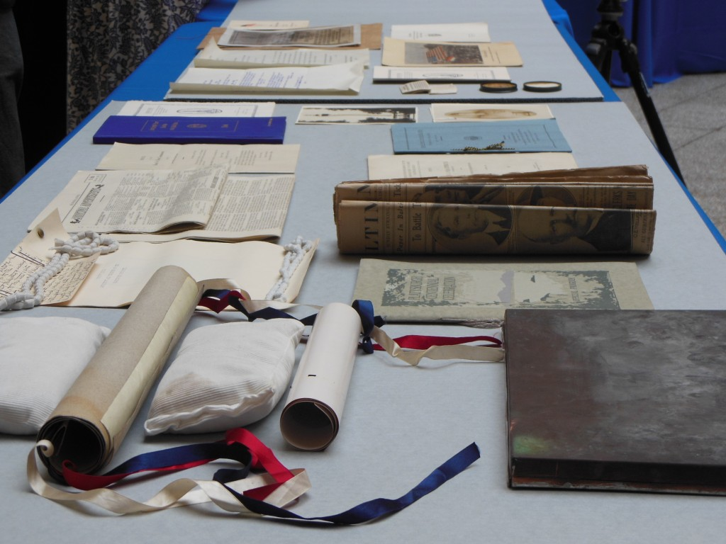 A portion of the trove of artifacts retrieved from the 1915 time capsule. (Anthony C. Hayes)