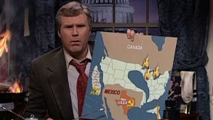 """""""His technique is loose, bordering on random, but when you step back he has rendered George W. Bush,"""" said Tina Fey of Will Ferrell's impression in """"Live From New York."""""""