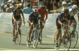 Women cyclists compete at the 1984 Olympics.