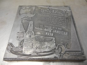 An antique printing plate for advertising National Beer. (Anthony C. Hayes)