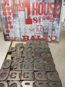 Some of the 19th century wood type used in the Vandercook No. 1. (Anthony C. Hayes)
