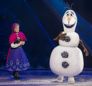 "Anna and Olaf are sure to delight fans during ""Disney on Ice: Dream Big."""