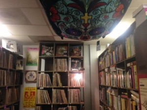 A sugar skull blanket and vintage posters accent the store's vinyl section (Lauren Molander)