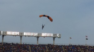 Of course the football for the Army-Navy game was delivered by skydivers. (Chris Swanson)