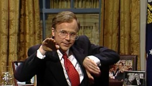 Dana Carvey in one of his 39 appearances as George H.W. Bush on the show (NBC)