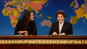 "Vanessa Bayer as Jacob the Bar Mitzvah Boy, with Cecily Strong on ""Weekend Update"" (NBC)"