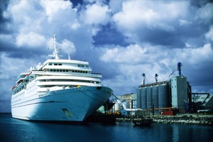 Barbados: Cruise ship docks at Bridgetown harbor. (All photos by Larry Luxner)