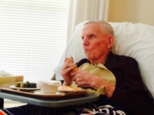 Dad watching the Orioles with me - a few weeks before he passed.
