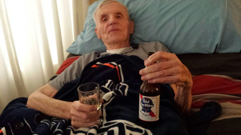 Mike and Greg sneak a Pabst to Dad while he's in the hospice.