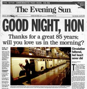 Front page for the last printed edition of the Evening Sun