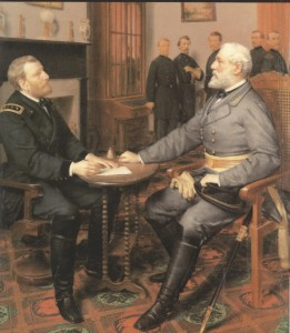 An artist's interpretation of Grant and Lee at Appomattox.
