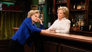 Hillary (McKinnon) vents to Hillary about the hardships of being Hillary (NBC)
