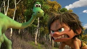 Arlo and a Neanderthal named Spot become good buddies in The Good Dinosaur. (Pixar)