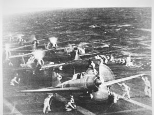 Japanese aircraft carrier 'Akagi' prepares to launch planes for the attack on Pearl Harbor.