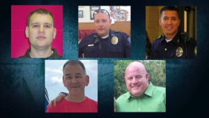 The five officers killed in the line of duty. (Law Enforcement courtesy)