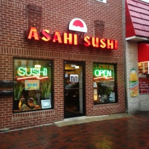 Asahi Sushi on South Broadway, on a rainy autumn Tuesday (Lauren Molander)