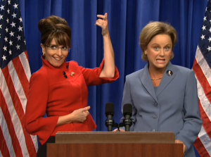 Fey and Poehler in the first Palin sketch (screenshot from Hulu)