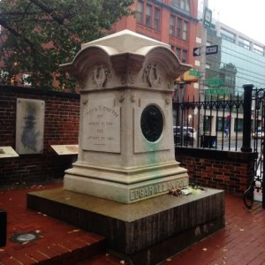 Poe's grave on a dreary day at Westminster Hall and Burial Ground (Lauren Molander)