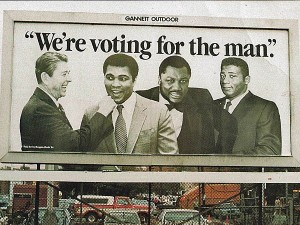 Can you picture the GOP getting this type of endorsement. In 1984 boxers Muhammad Ali, Joe Frazier and Floyd Patterson all endorsed Ronald Reagan for president. (Public Domain)