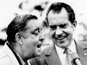 Richard Nixon with comedian Jackie Gleason.