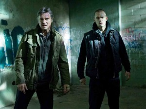 Liam Neeson and Joel Kinnaman's chemistry makes them believable as father and son in Run All Night (Warner Bros.)