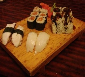 Salmon and salmon skin rolls, and the biggest winners of the meal, squid and octopus nigiri (Lauren Molander)