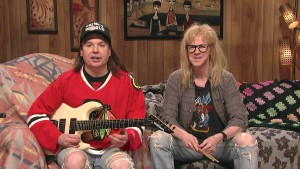 "Mike Myers and Dana Carvey reprise their ""Wayne's World"" roles, for SNL's 40th anniversary special (NBC)"