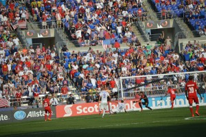 Clint Dempsey scores another  one against Cuba. (Costa Swanson)