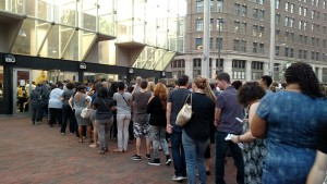 The thousands of fans who attended Prince's Rally 4 Peace concert on Sunday night were checked with a metal detector. Prince asked fans to wear gray in respect to Freddie Gray who died a week after sustaining an injury while in police custody. Six police officers have been charged in connection with his death. (Jon Gallo)